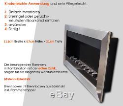 115cm Luxus Kamin Standkamin Wandkamin Wand Stand Gel BIO Ethanol aus Edelstahl
