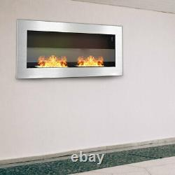 35Inch Bio Ethanol Fireplace Glass Steel Wall Mounted Biofire with 2 Fire Burner