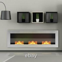48 Inch Glass Bio Ethanol Fireplace Indoor Burner Insert Biofire Fire Wall Mount