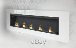 5 Burner Luxury Chimney Bio Ethanol Gel Fireplace Wall Cheminee White High Gloss