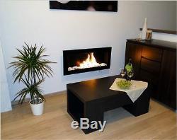 65cm Ethanol-Kamin schwarz mit Schutzscheibe Bio-ethanolkamin Wand NEU
