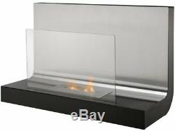 Adam Crescent Bio Ethanol Fire, wall Mounted, Stainless Steel, 31 Inch