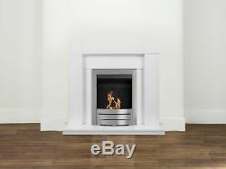 Adam Fireplace Suite in Pure White with Bio Ethanol Fire in Brushed Steel39 Inch