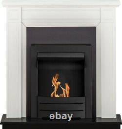Adam Georgian Fireplace Suite in Pure White with Colorado Bio Ethanol Fire in