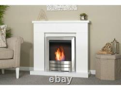 Adam Lomond Fireplace Pure White w Colorado Bio Ethanol Fire Brushed Steel 39 In