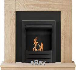 Adam Malmo Fireplace Suite in Oak with Colorado Bio Ethanol Fire in Black, 39