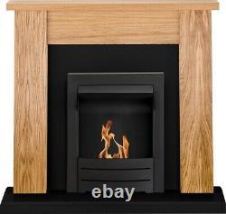 Adam New England Fireplace Suite Oak & Black with Colorado Bio Ethanol Fire i