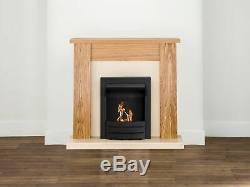 Adam New England Fireplace Suite in Oak with Colorado Bio Ethanol Fire in Bla