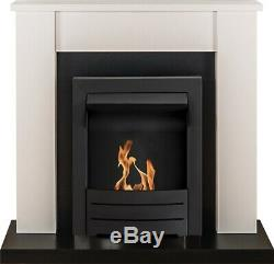 Adam Solus Fireplace Suite in Black & White with Colorado Bio Ethanol Fire in