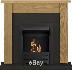 Adam Southwold Fireplace Suite, Oak & Black with Colorado Bio Ethanol Fire in