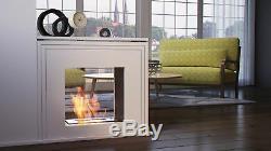 Amarillo tunell modern white free standing bio ethanol fire indoor fireplace