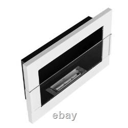 BIOETHANOL FIREPLACE 650x400 WHITE GLOSS DESIGN ECO TAMPERED GLASS + ACCESSORIES
