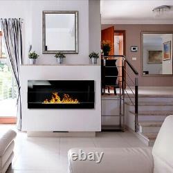 BIOETHANOL FIREPLACE 900x400 BLACK GLOSS DESIGN ECO TAMPERED GLASS + ACCESSORIES