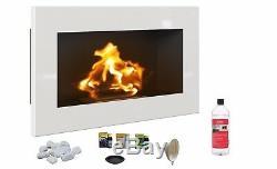 BIO ETHANOL FIREPLACE DESIGN ECO FIRE BURNER 648x374 WHITE GLOSS FUEL FREE