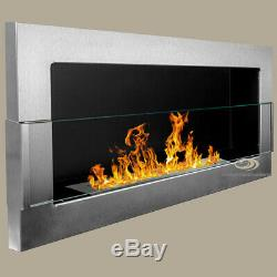 BIO ETHANOL FIREPLACE Euphoria INOX 900x400 with GLASS ECO BURNER +FREE