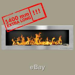 BIO ETHANOL FIREPLACE Excellence XXL 1400X400X120 COLOURS+FREE Wide flames