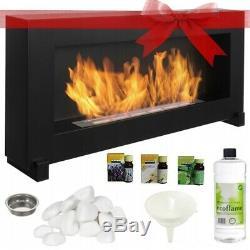 BIO ETHANOL FIREPLACE FREESTANDING 90x40 DESIGN ECO FIRE BURNER + ACCESSORIES
