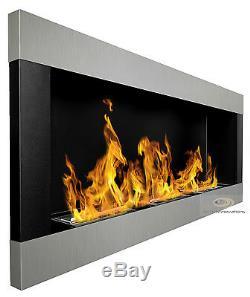 BIO ETHANOL FIREPLACE Linear Emotion BLACK MATT/ INOX 120x40cm NEW DESIGN