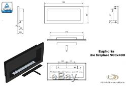 BIO ETHANOL FIREPLACE Linear Euphoria BLACK MATT/INOX 90x40cm! NEW DESIGN! TUV