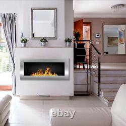 BIO ETHANOL FIREPLACE WALL MOUNTED 900x400 ECO FIRE BURNER WHITE + ACCESSORIES