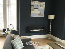 BIO ETHANOL FIRE FIREPLACE BLACK STEEL WALL MOUNTED HUNG WIDE 1200 x 400 MODERN