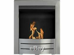 BIO ETHANOL MODERN BRUSHED STEEL FIREPLACE INSERT INSET FIRE REAL FLAME 3kW