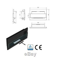 BLACK GLOSS BIO ETHANOL FIREPLACE 650x400 DESIGN TAMPERED GLASS + ACCESSORIES
