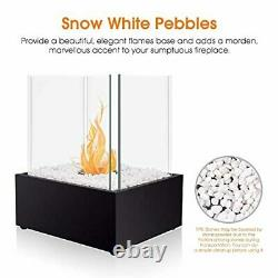 BRIAN & DANY Square Tabletop Bio Ethanol Fireplace with Pebbles and Fire Killer