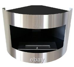 Bio Ethanol Corner Fireplace Diana Deluxe Black Stainless Steel + 1 Firebox (2L)