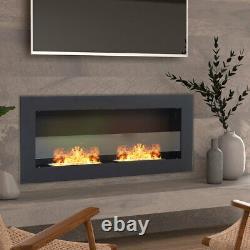 Bio Ethanol Fire 900 x 400 Fuel Burning Steel Fireplace Black Glass Wall Mounted