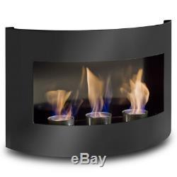 Bio Ethanol Fire Place RIVIERA Black Matt Steel Wall Fireplace Gel Bioethanol