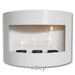 Bio Ethanol Fire Place RIVIERA White Steel Wall Fireplace + Glass + Pebbles
