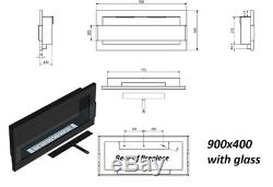 Bio Ethanol Fireplace B2C Professional 900 x 400 /GLASS/ 6 Colours