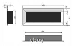 Bio Ethanol Fireplace Biofire Fire 1200 INOX SIMPLE fire Frame Glass 120cm 1.2m