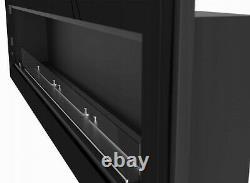 Bio Ethanol Fireplace Biofire Fire 1800x490 Black Gloss Frame Glass 180cm 1.8m