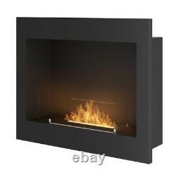 Bio Ethanol Fireplace Biofire Fire 600 BLACK SIMPLE fire Frame Glass 60cm 0.6m