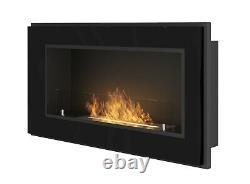 Bio Ethanol Fireplace Biofire Fire 900 BLACK SIMPLE fire Frame Glass 90cm 0.9m