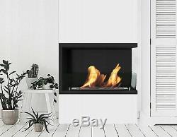 Bio Ethanol Fireplace Biofire Fire B2C Professional Corner Unit BLACK WITH GLASS