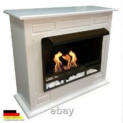 Bio Ethanol Fireplace Chimney Fire Place Camino Firegel Dion XL Premium White