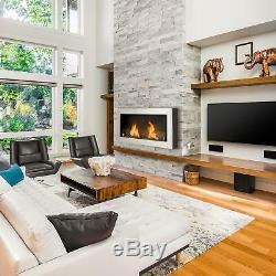 Bio Ethanol Fireplace Modern Wall mounted Smokeless Heating Living Room Home