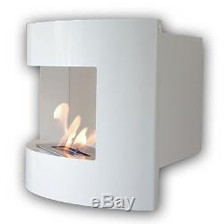 Bio Ethanol Fireplace RIVIERA DELUXE CORNER Wall White+ 1 adj. Firebox 2 litres