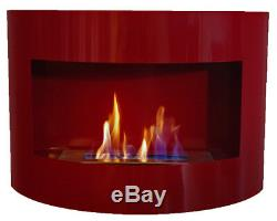 Bio Ethanol Fireplace RIVIERA DELUXE Red Wall Fire Place + Firebox 1L + Pebbles