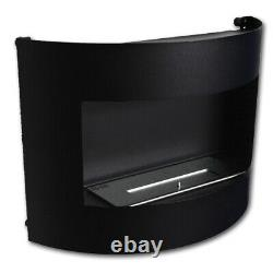 Bio Ethanol Fireplace Riviera Deluxe Black Matt Wall Fire Place with Firebox 1 L