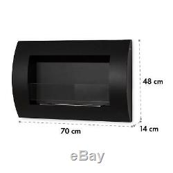 Bio Ethanol Fireplace Space Heater Wall Mountable Room Safety Glass Black