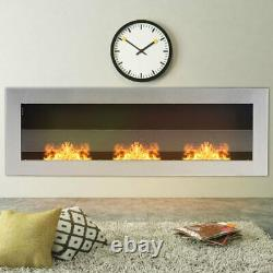 Bio Ethanol Fireplace Tempered Glass Wall Mounted/Inset Biofire Fire 1200x400mm