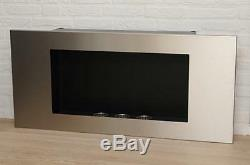 Bio Ethanol Fireplace Valencia XL Stainless Steel Wall Fire Place with Burners