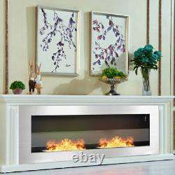 Bio Ethanol Fireplace Wall/Inset Biofire Fire 2 Burner Stainless Steel 90x40cm