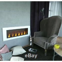 Bio Ethanol Fireplace Wall Mounted Eco Fire 110 cm 7kW 6 burners with Glass