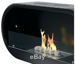 Bio-Ethanol Fireplace Wall Mounted Real Flame Stones 6L Fuel Indoor Outdoor Fire