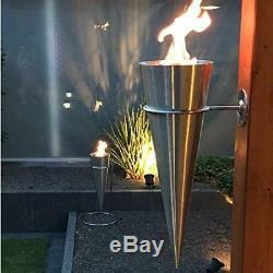 Bio Ethanol Gel Fireplace Monaco Torch Wall/Stand Fireplace Stainless Steel 65cm